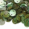 Link, mussel shell (dyed / coated), light green, 10mm flat round. Sold per pkg of 100.
