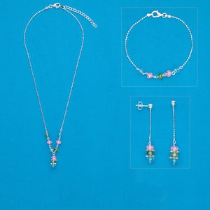 Necklace / bracelet / earring, sterling silver and cubic zirconia, pink / green / blue, 18-inch necklace with 2-inch extender chain and lobster claw clasp, 7-1/2 inch bracelet with lobster claw clasp, 2-inch earrings with post. Sold per set.