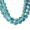 Necklace, 3-strand, magnesite (dyed / stabilized) and silver-finished brass, blue, 20x15mm teardrop, 19 inches with 2-inch extender chain and lobster claw clasp, Mohs hardness 3-1/2 to 4. Sold individually.