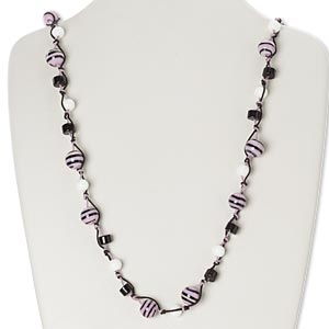 Necklace, glass and waxed cotton cord, black / white / lavender, round, 30-inch continuous loop. Sold individually.