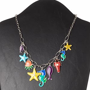 "Necklace, glass rhinestone / enamel / silver-plated brass / ""pewter"" (zinc-based alloy) / steel, multicolored, ocean theme, 16 inches with 3-inch extender chain and lobster claw clasp. Sold individually."