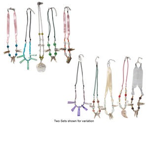 Necklace mix, mother-of-pearl shell / multi-gemstone / steel / glass, multi-shape, 18-inches with lobster claw clasp and 2-inch extender chain. Sold per pkg of 5. Minimum 2 per order.
