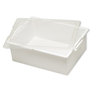 Organizer, Supply Bin™, Bead Storage Solutions™, plastic, clear and opaque off-white, 13-3/4 x 10-1/2 x 5 inches. Sold per 2-piece set.