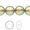 Pearl, Swarovski crystal, crystal iridescent green, 14mm coin (5860). Sold per pkg of 50.