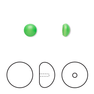 Pearl, Swarovski® crystal cabochon, neon green, 6mm half-drilled round (5817). Sold per pkg of 2.