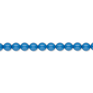 Pearl, Swarovski® crystal gemcolors, lapis, 4mm round (5810). Sold per pkg of 500.