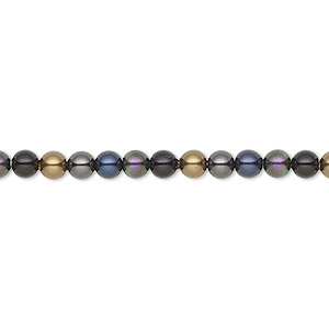Pearl, Swarovski® crystals, Mystery, 4mm round (5810). Sold per pkg of 100.