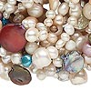 Pearl, cultured freshwater (bleached / dyed), multicolored, 3mm-20x7mm multi-shape, D+ grade, Mohs hardness 2-1/2 to 4. Sold per 72-inch continuous loop.