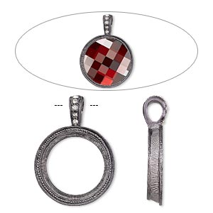 "Pendant, Almost Instant Jewelry®, Swarovski® crystals and gunmetal-finished ""pewter"" (zinc-based alloy), crystal clear, 34x25mm single-sided textured round with 20mm round setting. Sold individually."