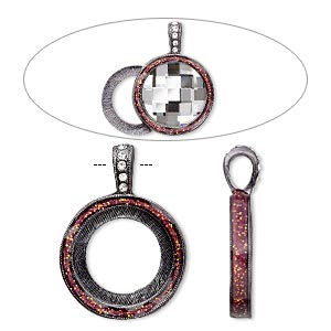"Pendant, Almost Instant Jewelry®, epoxy / Swarovski® crystals / gunmetal-finished ""pewter"" (zinc-based alloy), rose pink and crystal clear with glitter, 33x24mm single-sided with 20mm round setting. Sold individually."