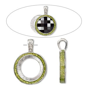 "Pendant, Almost Instant Jewelry®, epoxy / Swarovski® crystals / imitation rhodium-finished ""pewter"" (zinc-based alloy), peridot green and crystal clear with glitter, 33x24mm single-sided with 20mm round setting. Sold individually."