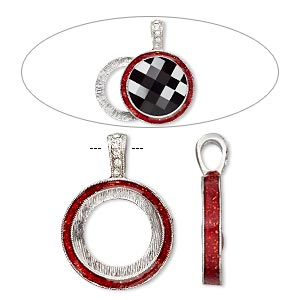 "Pendant, Almost Instant Jewelry®, epoxy / Swarovski® crystals / imitation rhodium-finished ""pewter"" (zinc-based alloy), light Siam red and crystal clear with glitter, 33x24mm single-sided with 20mm round setting. Sold individually."