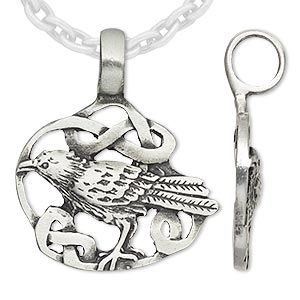 Pendant, Almost Jewelry™, antique pewter (tin-based alloy), 36x31mm raven in knot. Sold individually.