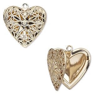 Pendant cage, gold-finished brass, 25.5x24.5mm single-sided hinged heart with cutout flower and 18.5x14mm heart setting. Sold individually.
