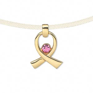 "Pendant, gold-finished ""pewter"" (zinc-based alloy) with Swarovski® crystals, pink, 18x15.5mm single-sided awareness ribbon. Sold individually."