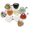 Pendant mix, gemstone (natural) with gold- or silver-finished bail, 15x15mm heart. Sold per pkg of 10.
