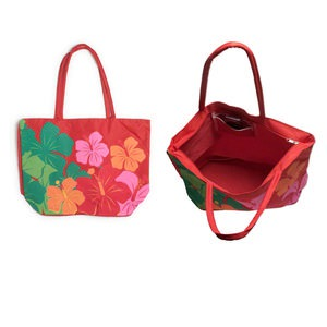 Purse, canvas, multicolored, 19 x 14-1/2 x 7-1/4 inches with hibiscus flower design and 26-inch strap. Sold individually.
