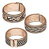 Ring, antiqued copper, 8-9mm band with assorted patterns, adjustable 7.5 size or larger. Sold per pkg of 3.