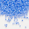 Seed bead, Delica®, glass, ceylon color-lined light cobalt, (DB240), #11 round. Sold per 50-gram pkg.