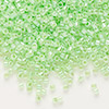 Seed bead, Delica®, glass, ceylon color-lined limeade, (DB237), #11 round. Sold per 50-gram pkg.