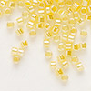 Seed bead, Delica®, glass, ceylon color-lined yellow, (DB233), #11 round. Sold per 50-gram pkg.