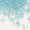 Seed bead, Delica®, glass, color-lined aqua, (DB79), #11 round. Sold per 50-gram pkg.