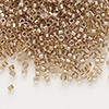 Seed bead, Delica®, glass, color-lined champagne, (DB907), #11 round. Sold per 50-gram pkg.