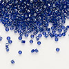 Seed bead, Delica®, glass, color-lined cobalt, (DB277), #11 round. Sold per 50-gram pkg.