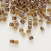 Seed bead, Delica®, glass, color-lined dark amber yellow, (DB287), #11 round. Sold per 7.5-gram pkg.