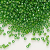Seed bead, Delica®, glass, color-lined lime green, (DB274), #11 round. Sold per 7.5-gram pkg.