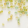 Seed bead, Delica®, glass, color-lined mix lemon and lime, (DB983), #11 round. Sold per 50-gram pkg.