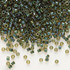 Seed bead, Delica®, glass, color-lined olive, (DB273), #11 round. Sold per 50-gram pkg.