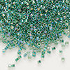 Seed bead, Delica®, glass, color-lined rainbow light lime, (DB60), #11 round. Sold per 50-gram pkg.