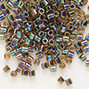 Seed bead, Delica®, glass, color-lined rainbow olive, (DBL89), #8 round. Sold per 7.5-gram pkg.