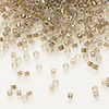 Seed bead, Delica®, glass, color-lined smoke, (DB64), #11 round. Sold per 50-gram pkg.
