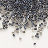 Seed bead, Delica®, glass, color-lined steel grey, (DB925), #11 round. Sold per 50-gram pkg.