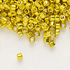 Seed bead, Delica®, glass, galvanized lemon, (DB424), #11 round. Sold per 50-gram pkg.