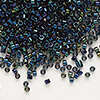 Seed bead, Delica®, glass, iris blue, (DB2), #11 round. Sold per pkg of 50 grams.