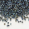 Seed bead, Delica®, glass, iris gunmetal, (DB6), #11 round. Sold per pkg of 50 grams.
