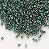 Seed bead, Delica®, glass, nickel-finished dark green, (DB458), #11 round. Sold per 7.5-gram pkg.