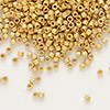 Seed bead, Delica®, glass, opaque 24Kt gold-finished matte, (DB331), #11 round. Sold per pkg of 4 grams.