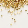 Seed bead, Delica®, glass, opaque bright 24Kt gold-finished, (DB31), #11 round. Sold per pkg of 50 grams.
