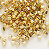 Seed bead, Delica®, glass, opaque bright 24Kt gold-finished, (DBL31CUT), #8 cut. Sold per 50-gram pkg.