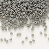 Seed bead, Delica®, glass, opaque grey, (DB731), #11 round. Sold per pkg of 7.5 grams.