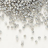 Seed bead, Delica®, glass, opaque luster rainbow grey-gold, (DB251), #11 round. Sold per pkg of 50 grams.