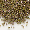 Seed bead, Delica®, glass, opaque luster rainbow olive, (DB133), #11 round. Sold per pkg of 7.5 grams.