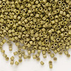 Seed bead, Delica®, glass, opaque matte luster khaki gold, (DB371), #11 round. Sold per pkg of 7.5 grams.