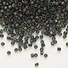 Seed bead, Delica®, glass, opaque matte metallic dark teal, (DB327), #11 round. Sold per pkg of 50 grams.
