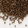 Seed bead, Delica®, glass, opaque matte metallic luster bronze, (DB1051), #11 round. Sold per pkg of 7.5 grams.