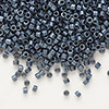 Seed bead, Delica®, glass, opaque matte metallic luster grey blue, (DB301), #11 round. Sold per pkg of 50 grams.